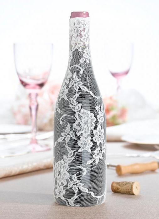 прикраса пляшок на весілля