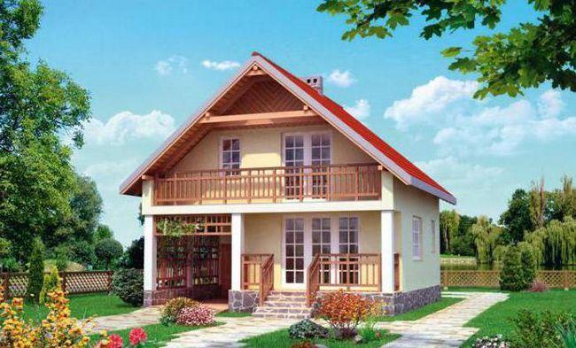 дерев'яний будинок з гаражем і мансардою 6х6