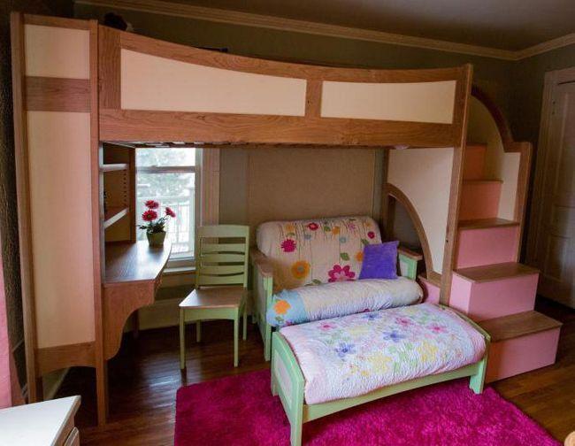 дитячі двоярусні ліжка для дівчаток