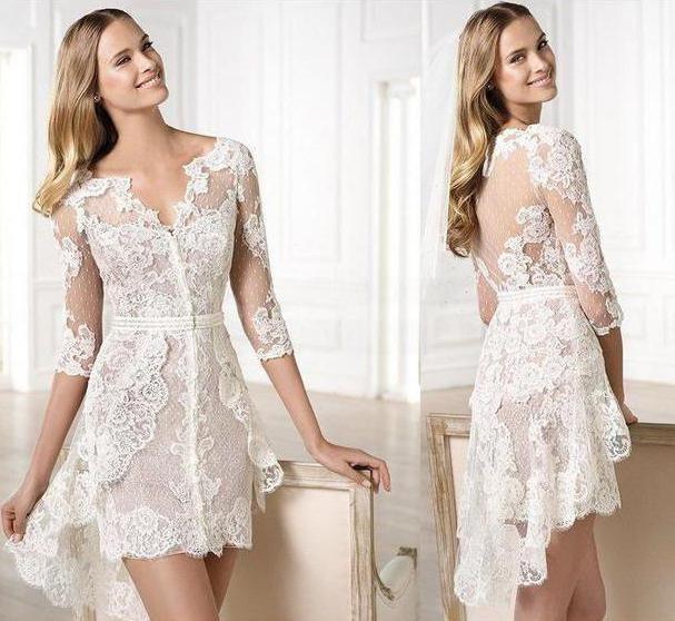 Фото - Коротке мереживне весільну сукню (фото)