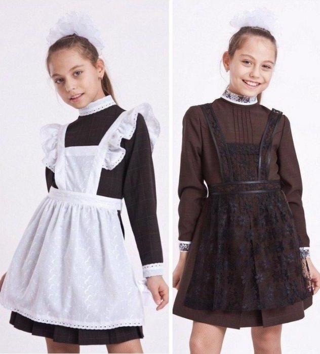 Фото - Модні фасони шкільної форми для дівчаток з фартухом. Фасони шкільної форми для повних дівчаток (фото)
