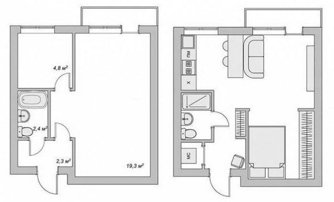 Фото - Планування 2-х кімнатних квартир: фото, схема