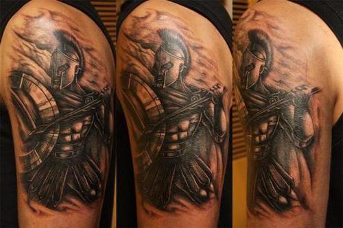 Фото - Спартанець - тату, що відображає мужність, силу і відвагу
