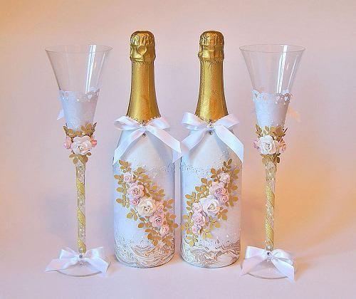 Фото - Прикраса пляшки на весілля своїми руками