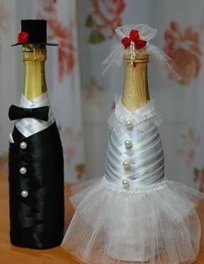 прикраса пляшок шампанського на весілля