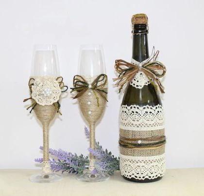 прикраса пляшок шампанського на весілля майстер клас