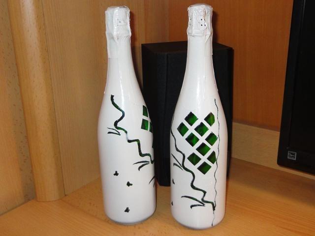 прикраса пляшок шампанського на весілля своїми руками