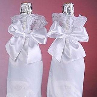 прикраси на пляшки шампанського на весілля фото