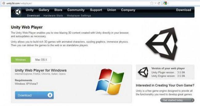 як встановити unity web player for windows