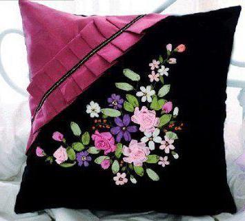 вишивка стрічками тюльпани