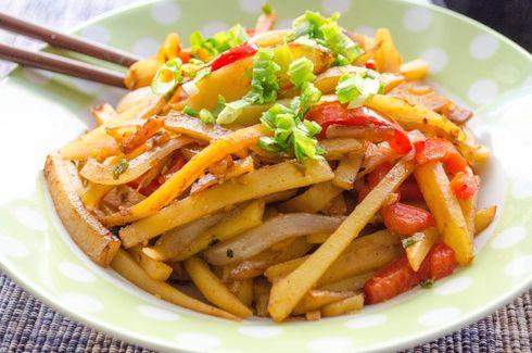 картопля по корейськи з м'ясом