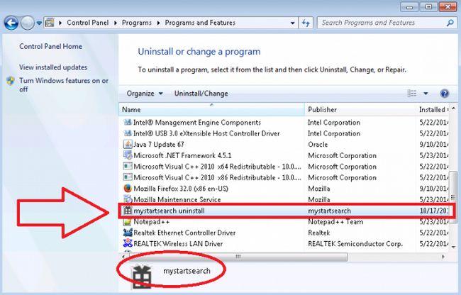 як видалити mystartsearch windows 7