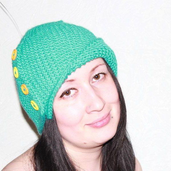 шапка спицями для дівчинки схема