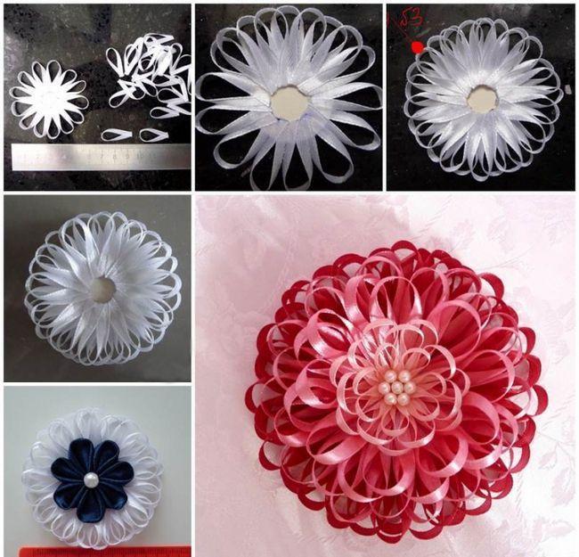 квітка з вузької атласної стрічки майстер клас