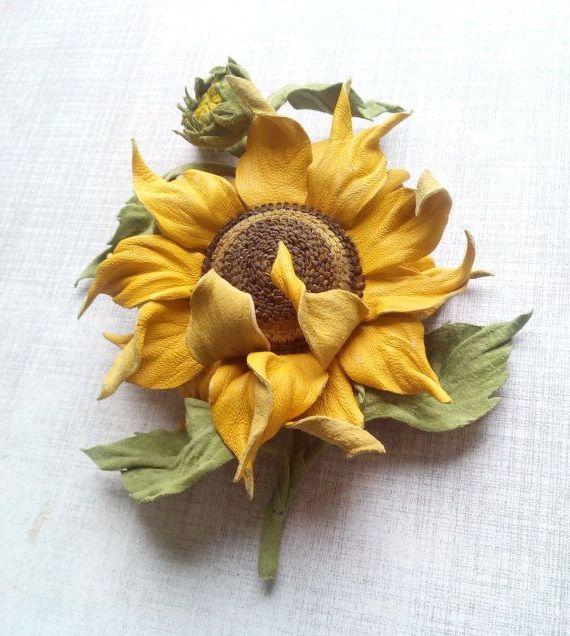 Фото - Соняшник зі шкіри: майстер-клас і опис